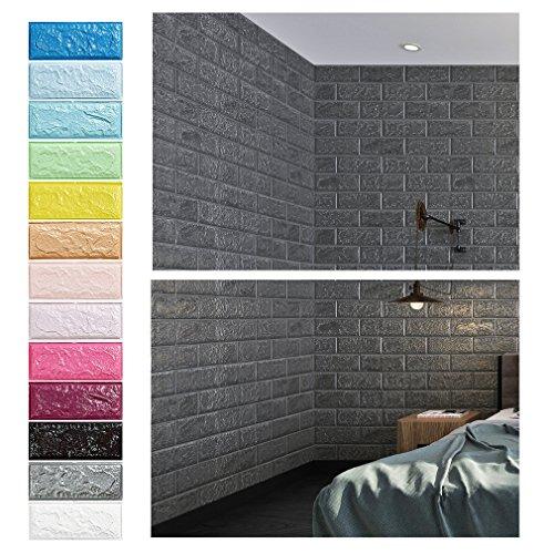 Grau 3D Ziegel Tapete, Wandpaneele Stereo Wandtattoo Papier Abnehmbare selbstklebend Tapete für Schlafzimmer Wohnzimmer moderne Hintergrund TV-Decor (70 x 77cm)/pcs x 15pcs