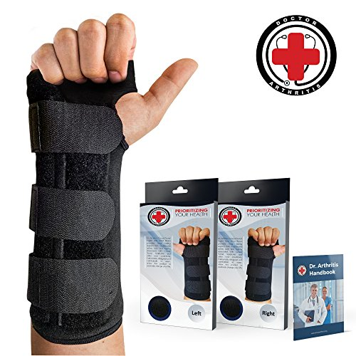 Doctor Developed Carpal Tunnel Wrist Brace Night & Wrist Support & Sleep Brace [Single] (with Splint) & Doctor Written Handbook - Fully Adjustable to Fit Any Hand (Left)