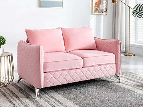 Altrobene Contemporary Loveseat, Velvet Sofa Chair Couch, Silver Tone Metal Legs, Pink