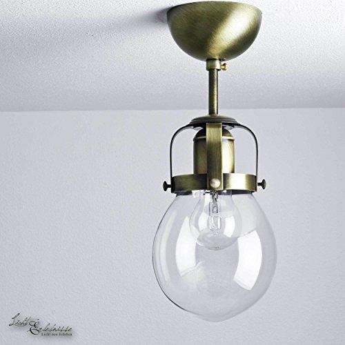Deckenleuchte Vintage Messing gebürstet 1x E27 bis zu 60 Watt 230V Leuchte Glas Metall Industrie Lampen Fabrik Lampe Retro Wohnzimmer Beleuchtung