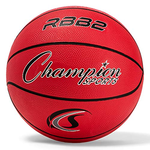 Champion Sports Rubber Junior Basketball, Heavy Duty - Pro-Style Basketballs, Various Colors and Sizes - Premium Basketball Equipment, Indoor Outdoor - Physical Education Supplies (Size 5, Red)