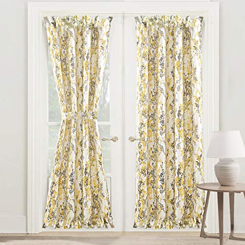 DriftAway Leah Door Curtain Sidelight Curtain Thermal Room Darkening Privacy Front Door Panel Single Curtain with Bonus Adjustable Tieback 52 Inch by 72 Inch Plus 1.5 Inch Header Golden Yellow Gray