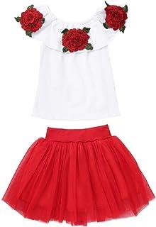 Jugendhj Babysuit 🇨🇦🇨🇦Toddler Baby Girls Off Shoulder Rose Embroidery Tops+Solid Tulle Skirts Outfits