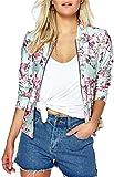 EUDOLAH Damen Blazer Strickjacke Sweatshirt mit Reissverschluss Streetwear Frühling Herbst A-Rosa M