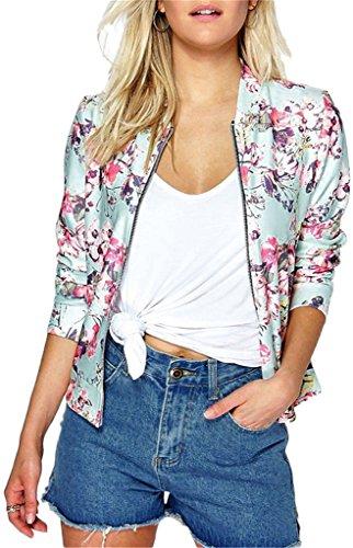 EUDOLAH Chaqueta de Punto Chaqueta de Punto con Cremallera Streetwear Primavera otoño(E-Rosa,S)
