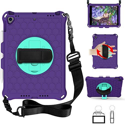 QYiD Kids Case for iPad Pro 9.7, Kids Friendly Light Weight EVA Shockproof Case Rotatable Strap, Pencil Holder & Shoulder Belt for iPad Pro 9.7 2016 Modle: A1674 / A1675 / A1673, Purple/Aqua
