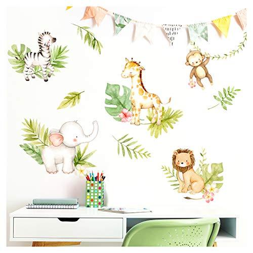 Little Deco Wandaufkleber Dschungeltiere mit Blätter & Blumen I M - 116 x 63 cm (BxH) I Wandsticker Babyzimmer Junge Wandtattoo Kinderzimmer Mädchen DL452
