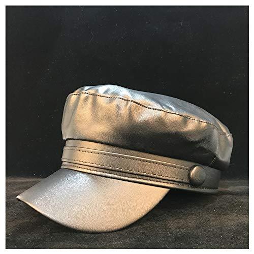 LHZUS Sombreros Hombres Mujeres de Cuero Verdadero Ocasional de la Boina del Sombrero de la Vendimia Sombrero al Aire Libre Recorrido Salvaje Sombrero 56-58cm Tamaño (Color : Negro, Size : 56-58)