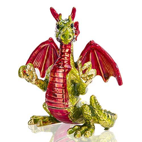 Cute Red Pterosaur Trinket Boxes Hinged Crystal Jeweled Dinosaur Animal Figurines Jewelry Display Ring Holder Box
