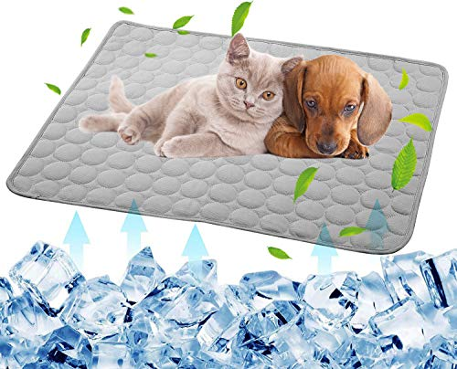 Dog Self Cooling Mat Pet Washable Summer Pads Blanket Hot Weather Sleeping Kennel Mat,Ice Silk Sleep Mat Pad Non-Toxic Breathable Sleep Bed for Large Dogs Cats No Water (XL:27.5 x 39.4 inches, Grey)