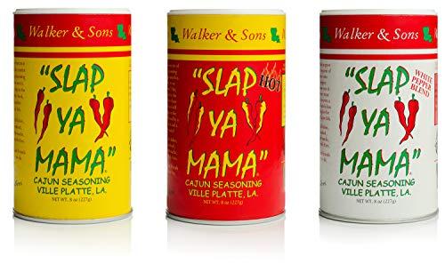 Slap Ya Mama All Natural Cajun Seasoning from Louisiana Spice Variety Pack, 8 Ounce Cans, 1 Cajun, 1 Cajun Hot, 1 White Pepper Blend