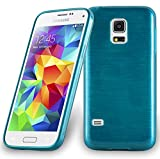 Cadorabo Coque pour Samsung Galaxy S5 Mini / S5 Mini DUOS en Turquoise – Housse Protection Souple en Silicone TPU avec Anti–Choc et Anti–Rayures – Ultra Slim Fin Gel Case Cover Bumper