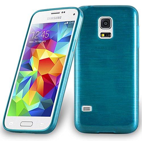 Cadorabo Hülle für Samsung Galaxy S5 Mini / S5 Mini DUOS - Hülle in TÜRKIS – Handyhülle aus TPU Silikon in gebürsteter Edelstahloptik (Brushed) Silikonhülle Schutzhülle Soft Back Cover Case Bumper