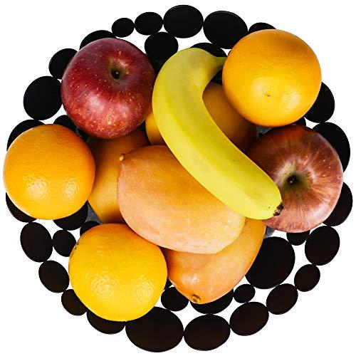 Ganamoda Metal Fruit Bowl Modern Fruit Basket for Kitchen Table, Large Fruit Holder Stand for Vegetable, Bread, Candy and Household Storage, Black