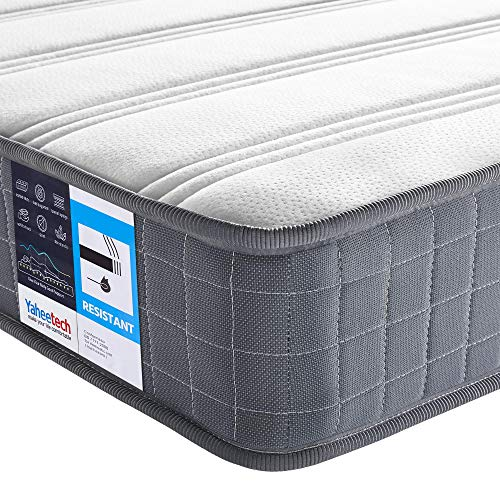 Yaheetech Single Mattress 3ft Spring Bed Mattress with 3D Breathable Knitted Fabric,Medium Soft 19cm Foam Mattress,Grey