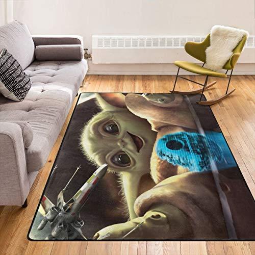 Caimizogojocrz Baby Yoda Star Wars Alfombra antideslizante para salón, hogar, dormitorio y niños juegan en interiores, 213,4 x 152,4 cm