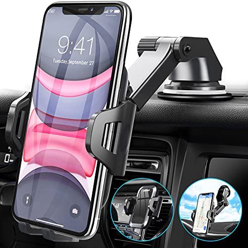 UVERTOOP Supporto Cellulare Auto Smartphone per Cruscotto e Parabrezza, Porta Cellulare da Auto per Molti 3 in 1 Supporto Smartphone Auto Porta Telefono per iPhone 12 11 Pro Xs Max 8 7 Samsung ecc.