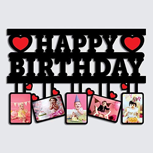 GiftsWale Happy Birthday Customized Wall 5 Photos Collage Frame