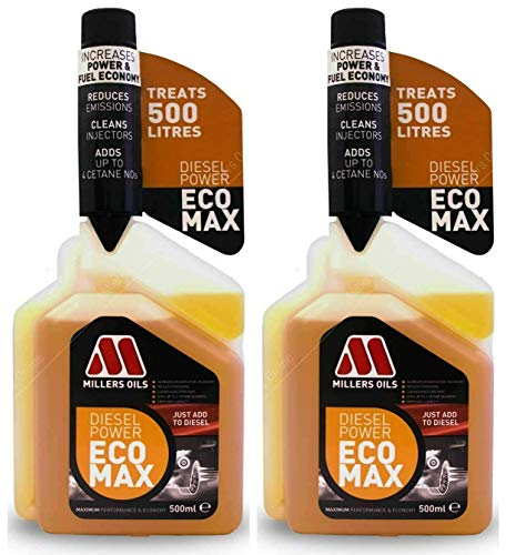 Millers Oils 2 X Diesel Power Ecomax 500ml, Fuel Additive Treatment