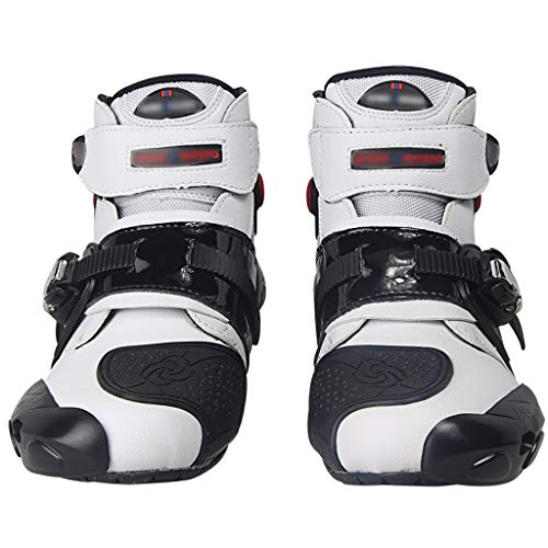 WggWy Männer motorradabenteuer Stiefel, atmungsaktive schützende Anti-kollision einstellbare Offroad Reitstiefel geeignet für motorräder und fahrräder,Weiß,45