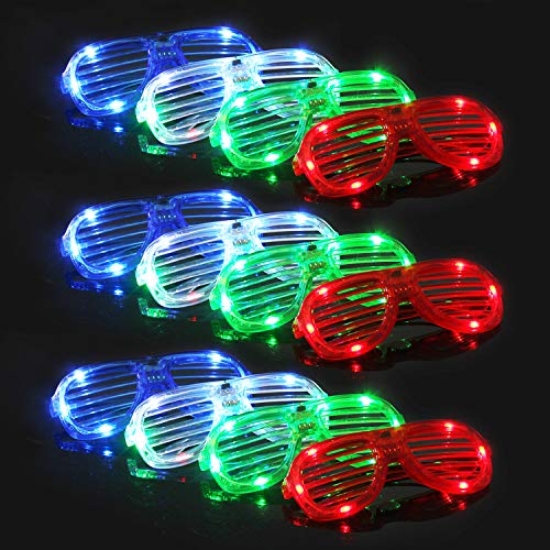 M.best Light Up Glow Glasses, 12 Pack Glow in The Dark LED Shutter Shades Sunglasses Party Supplies...