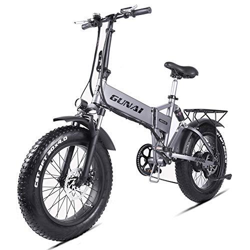 GUNAI Pieghevole Bici Elettrica,20 Pollice Motore 500W Batteria al Litio 48V12.8AH,Freno a Doppio Disco Bicicletta a Rotolare sulla Neve o la Sabbia con Sedile Posteriore(Argento)