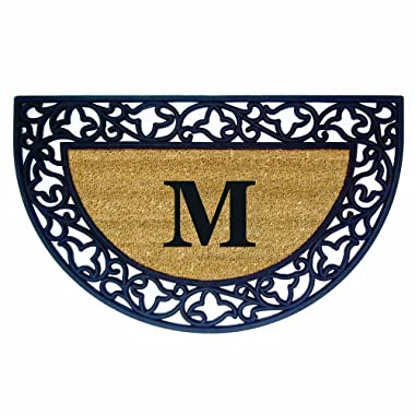 Nedia Home Acanthus Border with Half Round Rubber/Coir Doormat, 22 by 36-Inch, Monogrammed M