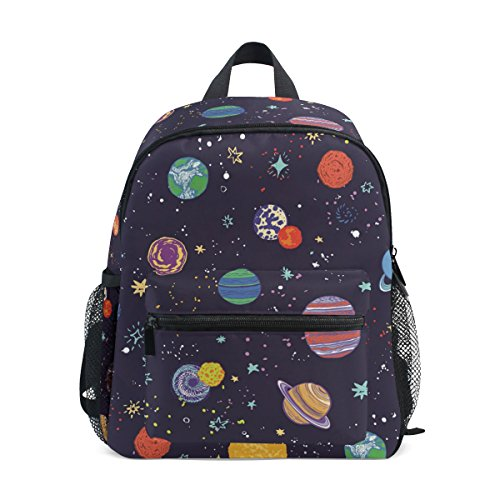 Kids Backpack, Space Planets Printed Personalised Lightweight Preschool Bag for Girls Boys