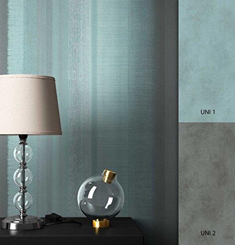 NEWROOM Tapete Türkis Streifen verwaschene Optik Modern Vliestapete Grau Vlies moderne Design Optik Streifentapete Landhaus inkl. Tapezier Ratgeber
