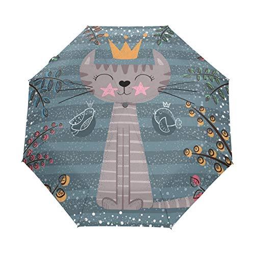 Lindo Navidad Princesa Gato Paraguas Plegables niña niño Automático Resistencia Viento Paraguas Impermeable de Viaje