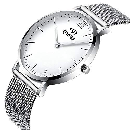 Quarzuhr für Männer Frauen Leichte einfache Armbanduhr Ultradünne Pendleruhr für die Arbeitssuche Uhr für Männer MDYHJDHHX (Color : Weiß, Size : Kostenlos)