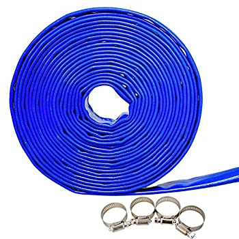 MEDAS 1.5  x 32.8 FT Blue PVC Backwash Hose Heavy Duty Discharge Hose w/Hose Clamp Reinforced Pool Drain Hose with 4 Clamps Included
