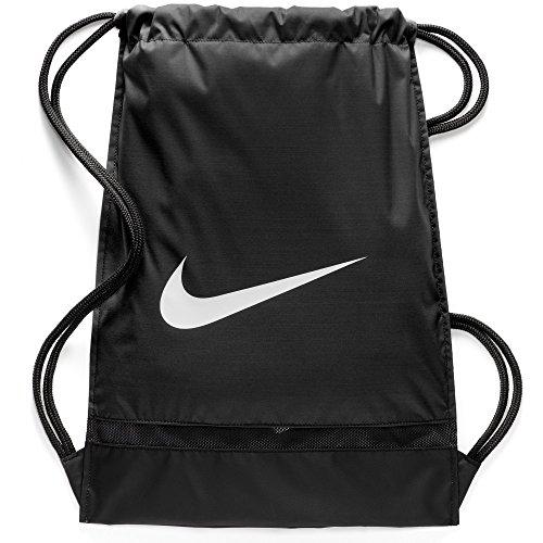 Nike Brasilia Training Gymsack, Drawstring Backpack with Zippered Sides, Water-Resistant Bag, Black Black White