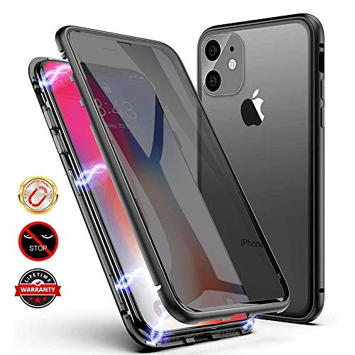 Anti-peep Magnetic Case for iPhone Xs Max, Anti Peeping Double-Sided Privacy Screen Protector Magnet Absorption Metal Bumper Antipeep Phone Cases Cover for Apple iPhone Xs Max (Black)