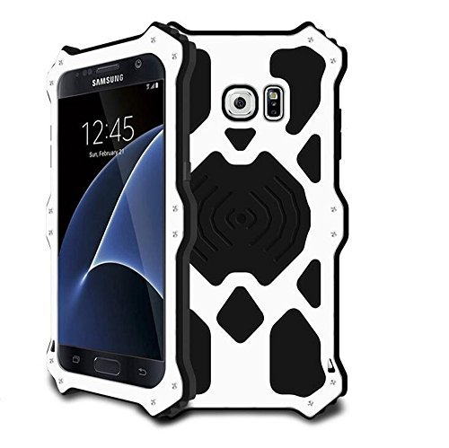 Galaxy S7 Metal Case,Bpowe Luxury Aluminum Alloy Protective Case, Metal Bumper Armor Aluminum Shockproof Military Heavy Duty Protector Case Cover for Samsung Galaxy S7 5.1 inch (MK2-White)