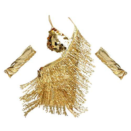 Gtagain Lentejuelas Borla Latina Danza Vestido - Sexy Correa Sin Respaldo Salsa Samba Rumba Tango Jazz Outfits Carnaval Rendimiento Equipo Traje Salón de Baile