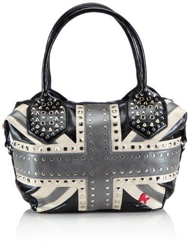 poodlebag Handtaschen Damen Schulter-Taschen mit Nieten im Union Jack UK Flaggen Design Funkyline Flag Friday 3FL0314FRUK