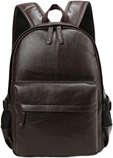 ludonie Travel School Fashion Men Faux Leather Backpack Shoulder Bag Zip Tote Rucksack
