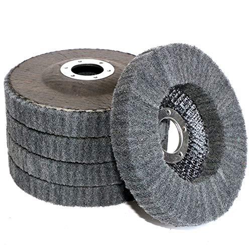 "5Pcs 4.5"" x 7/8"" Nylon Fiber Buffing Wheel Scouring pad Flap Polishing Disc for Angle Grinder (Grit 800)"
