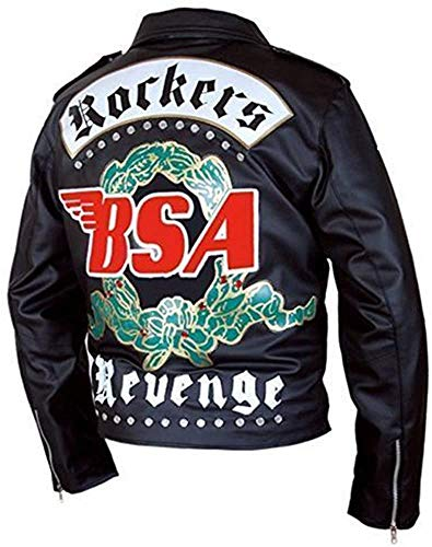 EU Fashions George Michael BSA Faith Rockers Revenge chaqueta de cuero real para hombre