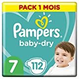 Pampers Baby Dry Couches  Taille 7 (+15 kg), 112 couches, Pack 1 Mois