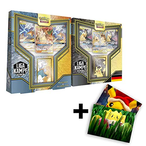 Pokemon Karten 2 Liga Kampf Decks Reshiram & Glurak-GX + Pikachu & Zekrom-GX DE Deutsch + Exklusive GRATIS Grußkarte