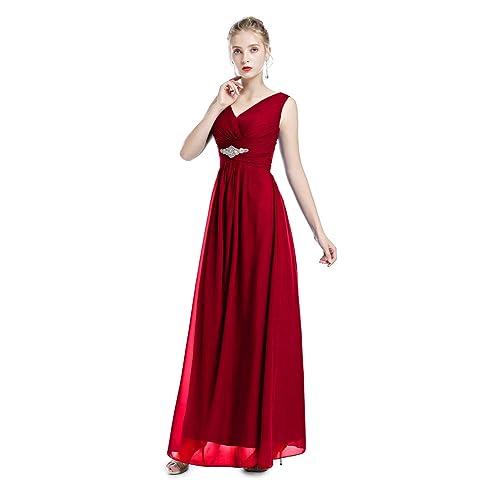 56b6e6286 IWEMEK Women's Bridesmaids Formal Chiffon Wedding Prom Dress Spaghetti  Strap Sleeveless V-Neck Maxi Dress
