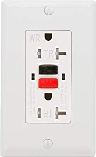 Kasonic GFCI Outlet 20 Amp, Tamper-Resistant, Weather Resistant Receptacle Indoor or Outdoor Use, LED Indicator with Decor Wall Plates and Screws - UL Listed (White)