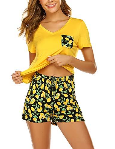 Unibelle Schlafanzug Damen Kurz Sommer Pyjama Shorty Nachtwäsche Hausanzug Kurzarm Rund Ausschnitt Sleepshirt Zweiteiliger Zitronengelb M