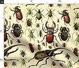Spoonflower Stoff – Insekten-Druck, Käfer, Vintage-Stil,