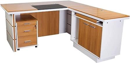 Mahmayi Zelda Modern Executive Desk, Walnut/White, 75 x 180 x 160 cm, ZHM230-16