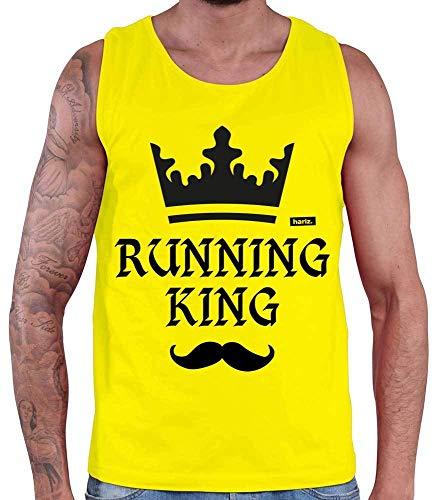 HARIZ Herren Tank Top Running King Laufen Joggen Inkl. Geschenk Karte Gelb M