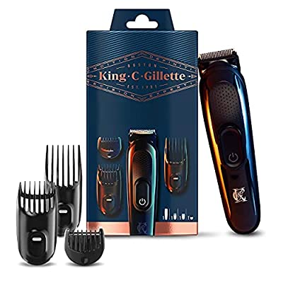 King C. Gillette Cordless Beard Trimmer Kit for Men with Lifetime Sharp Blades, Includes 3 Interchangeable Combs, Gift Set for Him/Dad from Procter & Gamble