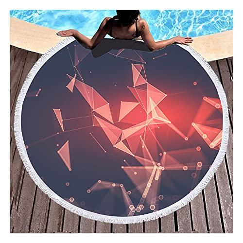 HAGENGOO Toalla de Playa Redonda de Microfibra con Estampado geométrico de Metal en 3D